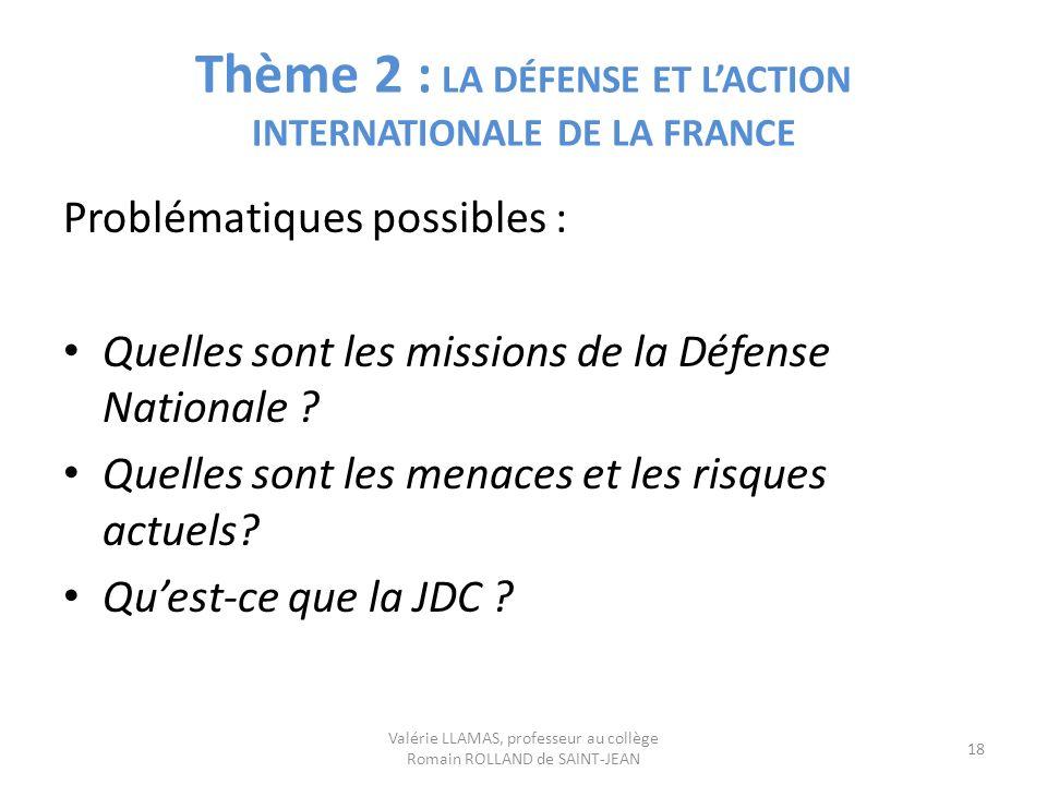 Thème 2 : LA DÉFENSE ET L'ACTION INTERNATIONALE DE LA FRANCE
