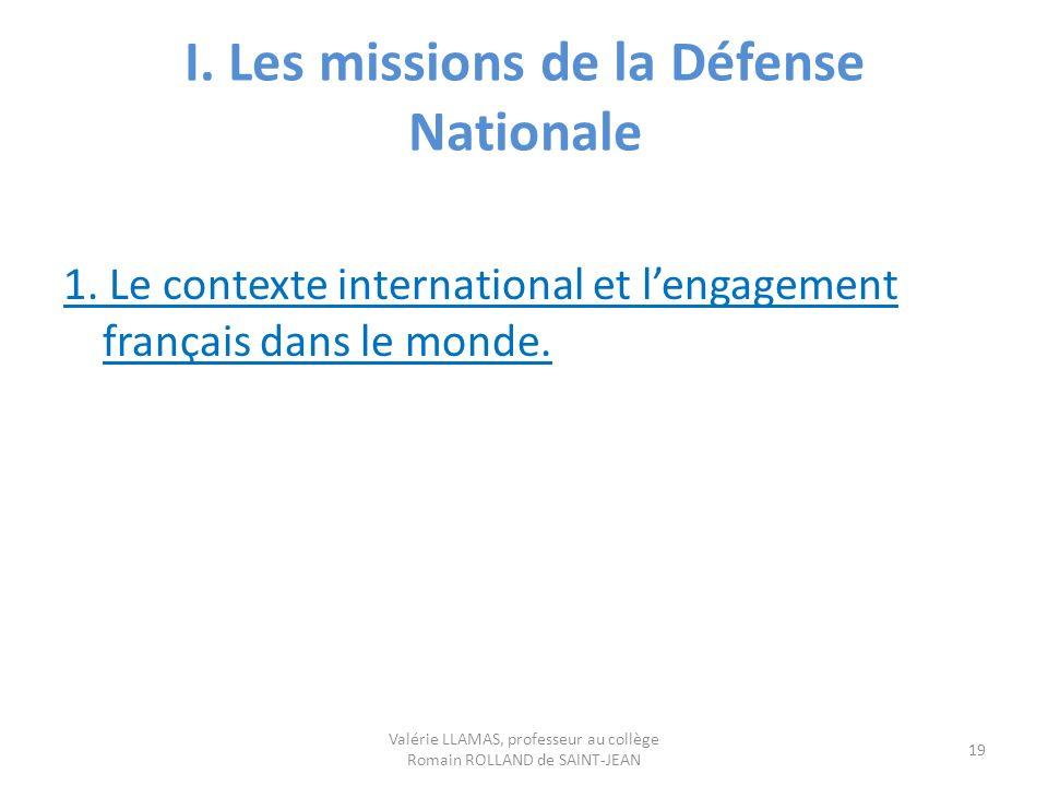 I. Les missions de la Défense Nationale