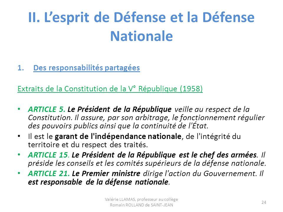 II. L'esprit de Défense et la Défense Nationale