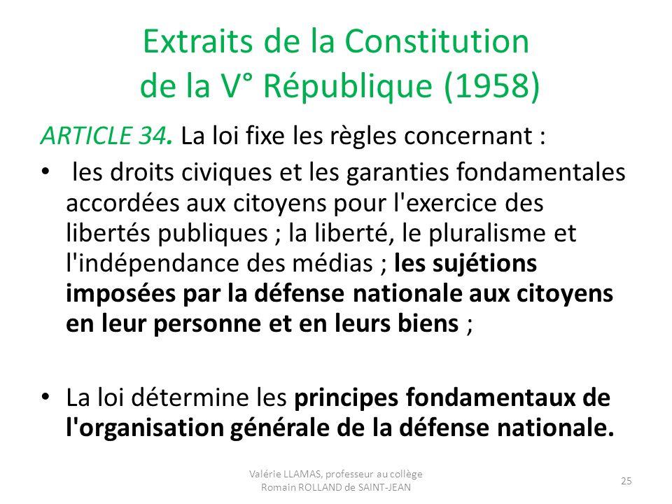 Extraits de la Constitution de la V° République (1958)