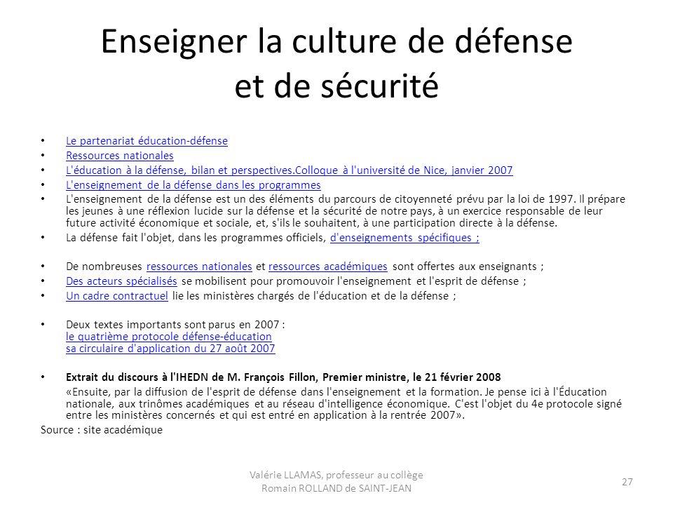 Enseigner la culture de défense et de sécurité