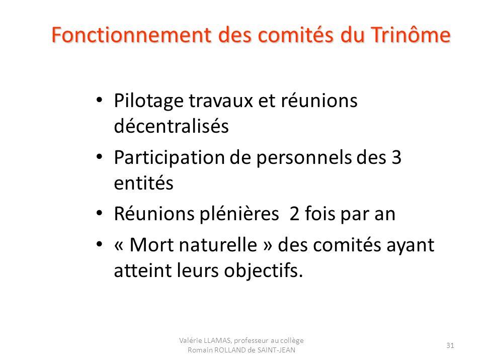 Fonctionnement des comités du Trinôme