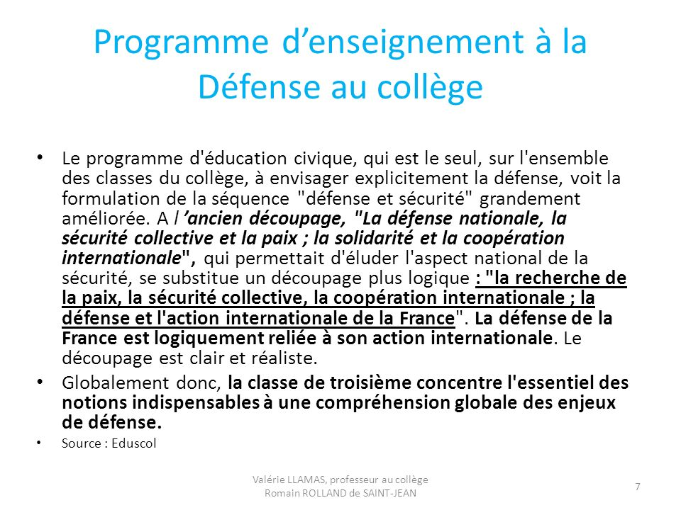 Programme d'enseignement à la Défense au collège