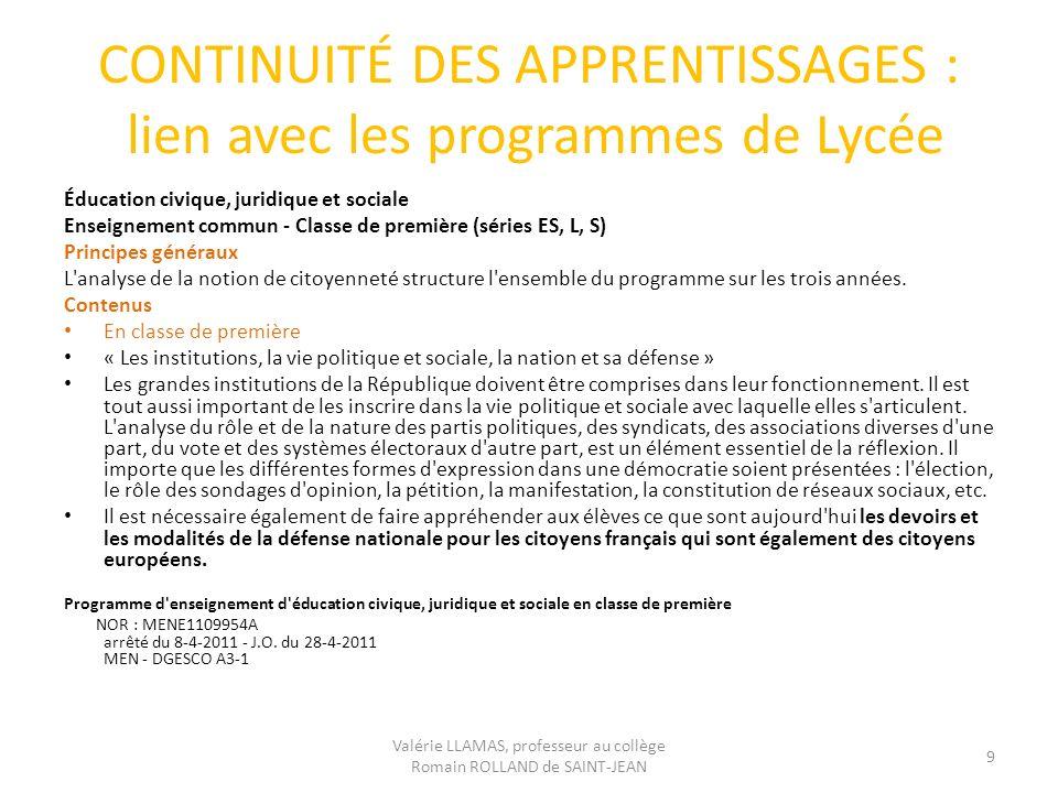 CONTINUITÉ DES APPRENTISSAGES : lien avec les programmes de Lycée