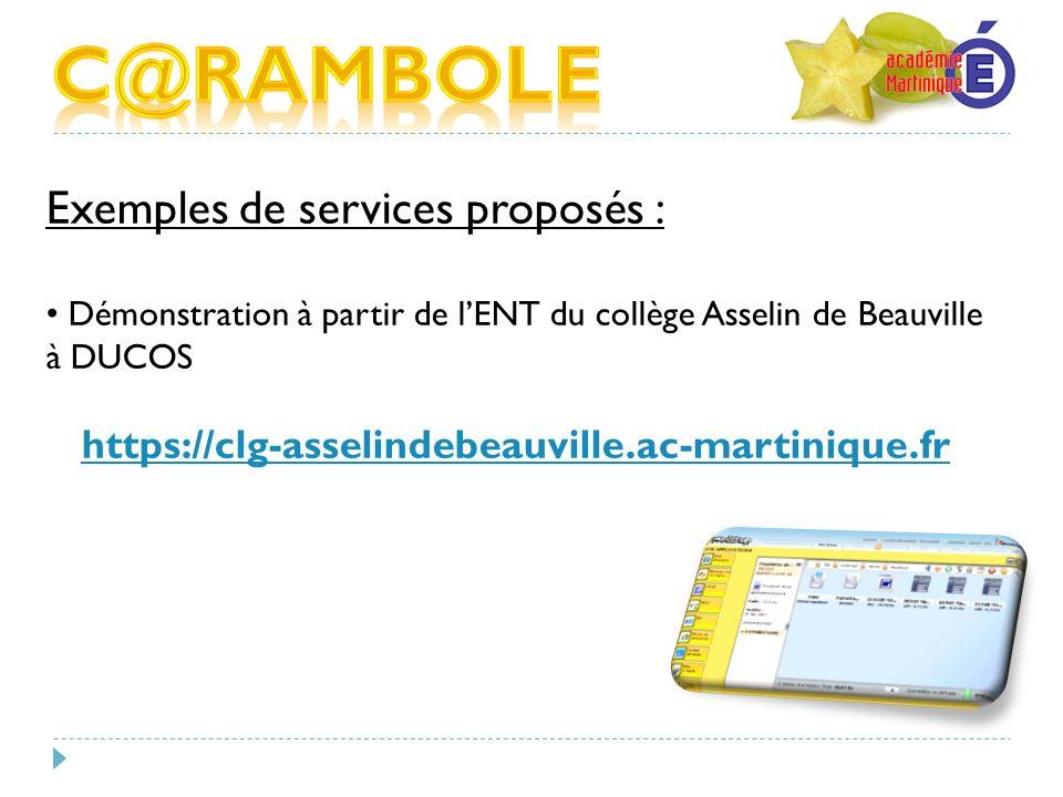 C@RAMBOLE Exemples de services proposés :