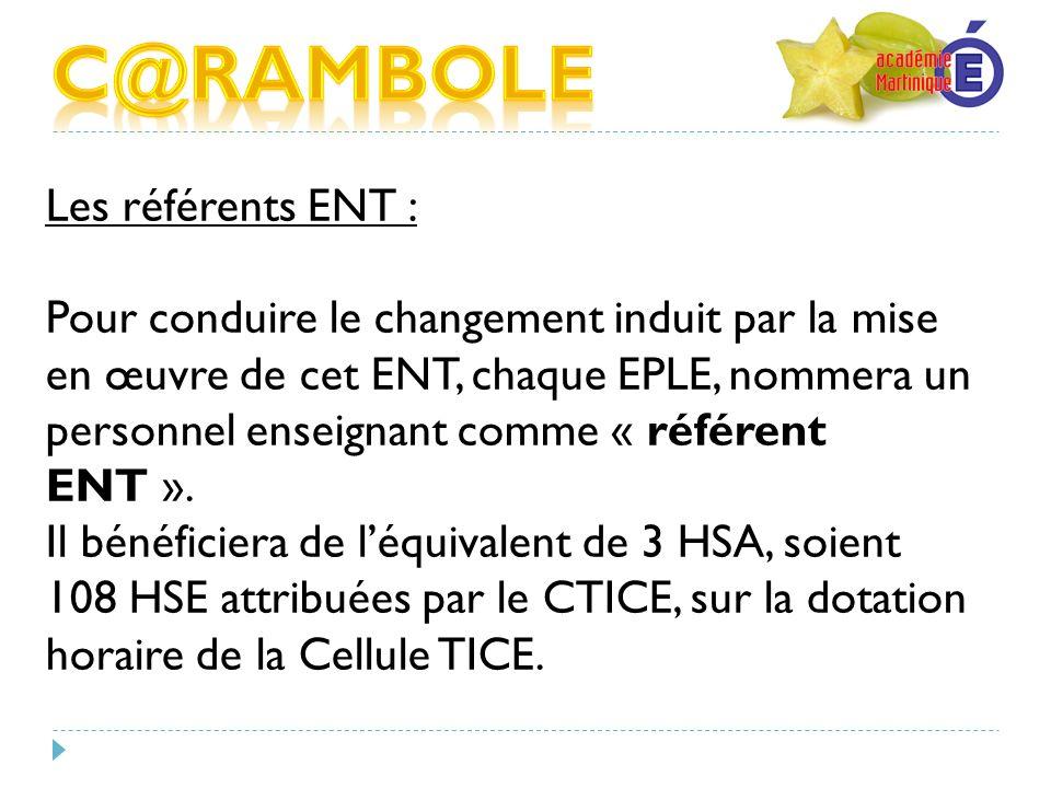 C@RAMBOLE Les référents ENT :