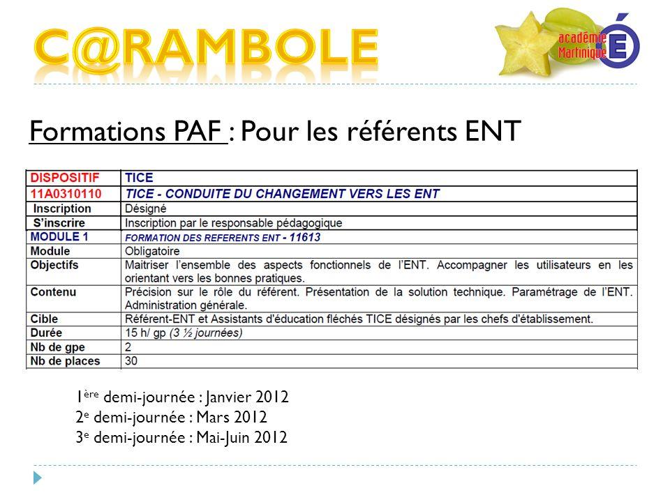 C@RAMBOLE Formations PAF : Pour les référents ENT