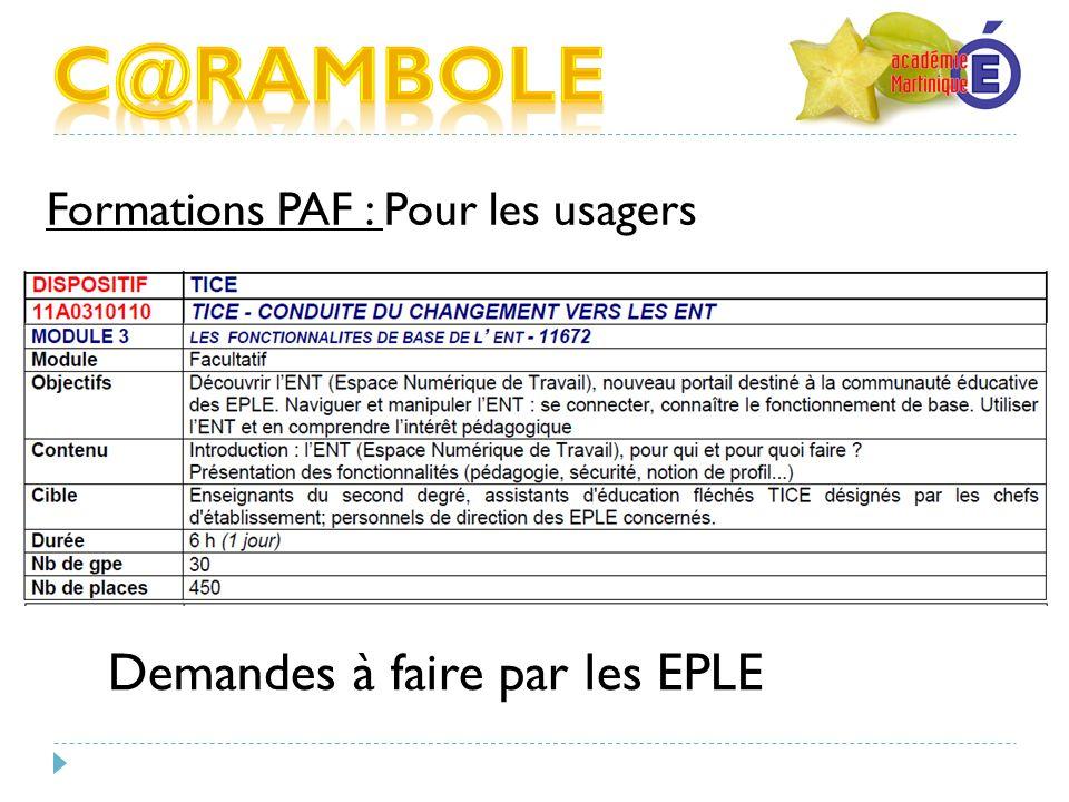 C@RAMBOLE Demandes à faire par les EPLE