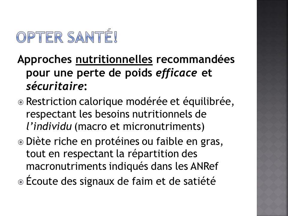 Opter santé! Approches nutritionnelles recommandées pour une perte de poids efficace et sécuritaire: