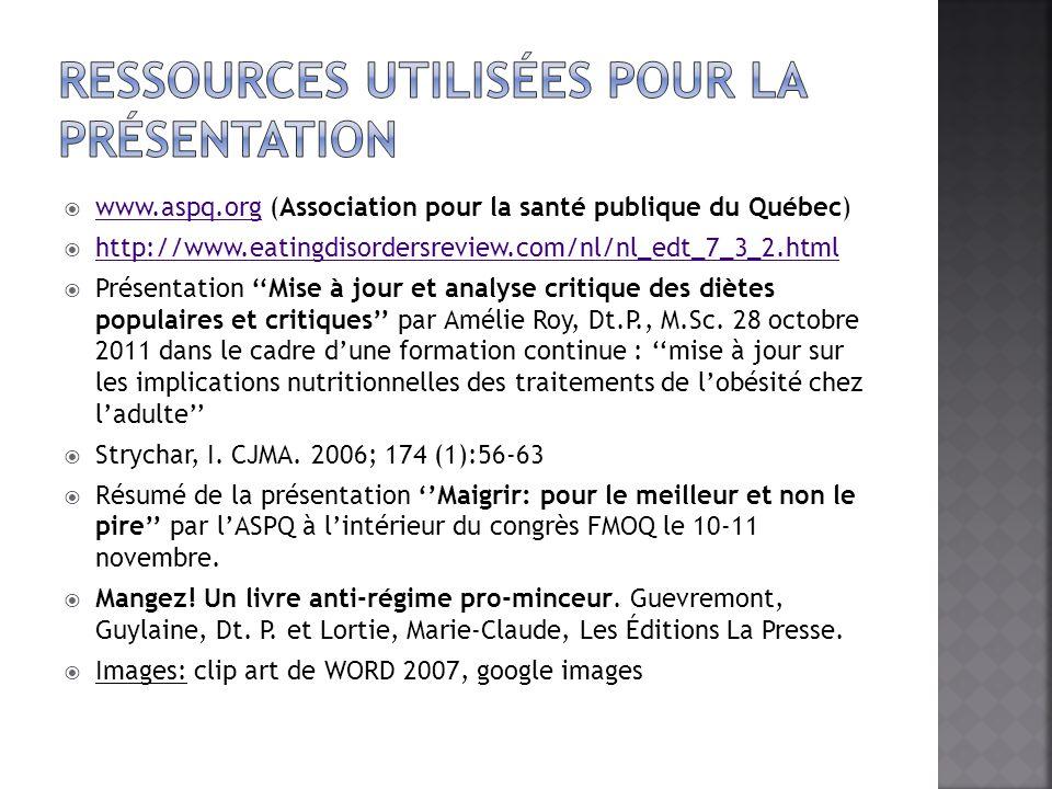 Ressources utilisées pour la présentation