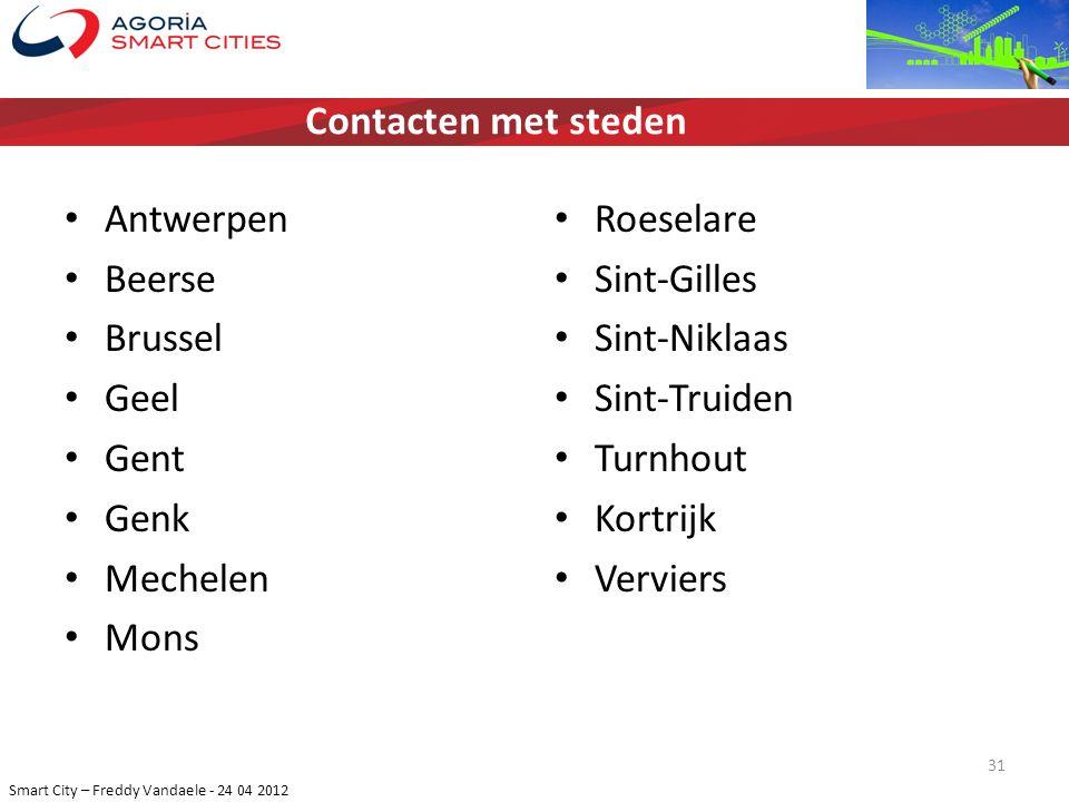 Contacten met steden Antwerpen. Beerse. Brussel. Geel. Gent. Genk. Mechelen. Mons. Roeselare.