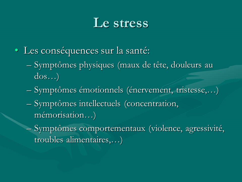 Le stress Les conséquences sur la santé: