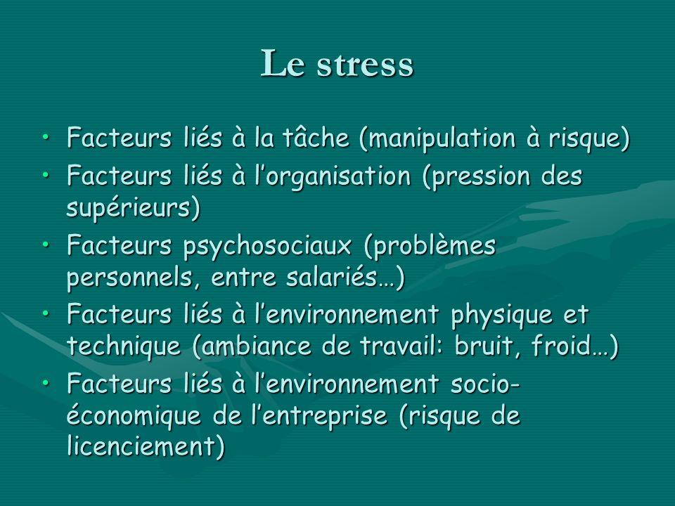 Le stress Facteurs liés à la tâche (manipulation à risque)