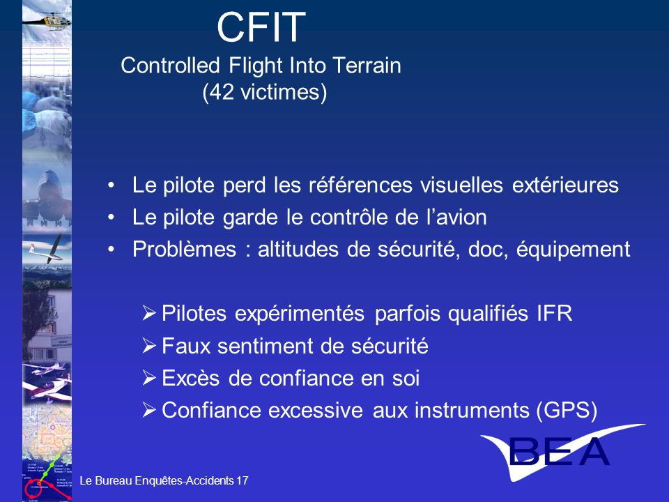 CFIT Controlled Flight Into Terrain (42 victimes)