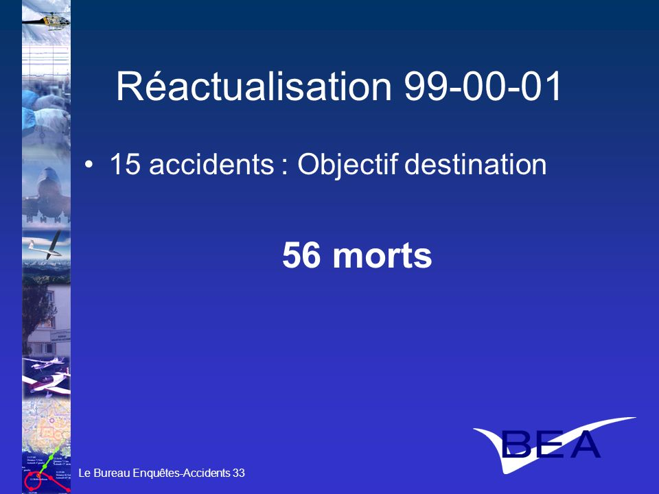 Réactualisation 99-00-01 15 accidents : Objectif destination 56 morts