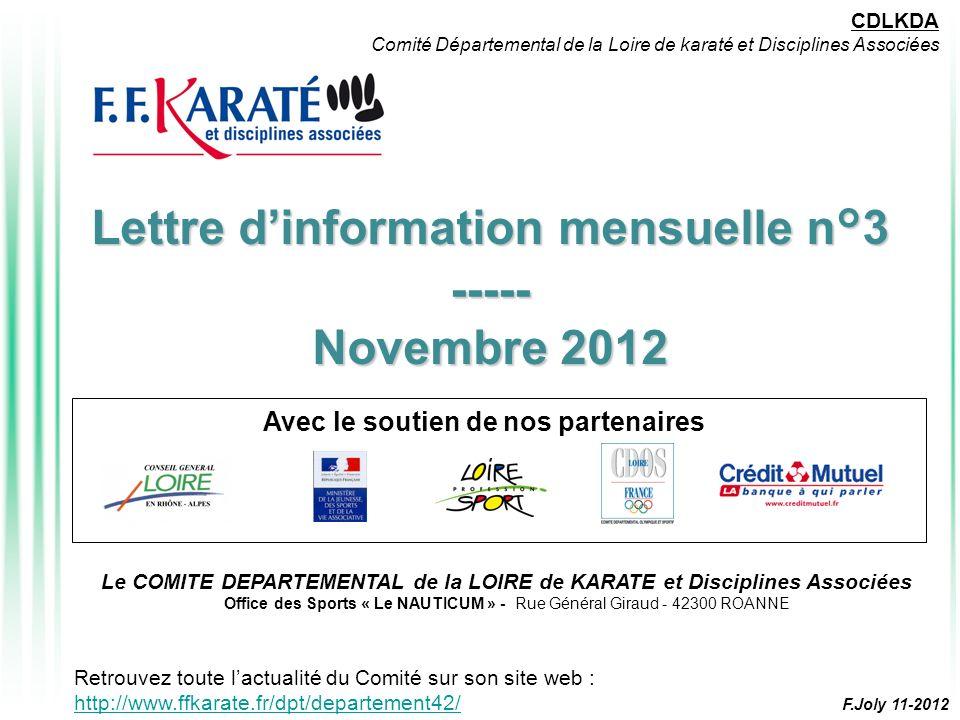 Lettre d'information mensuelle n°3 ----- Novembre 2012