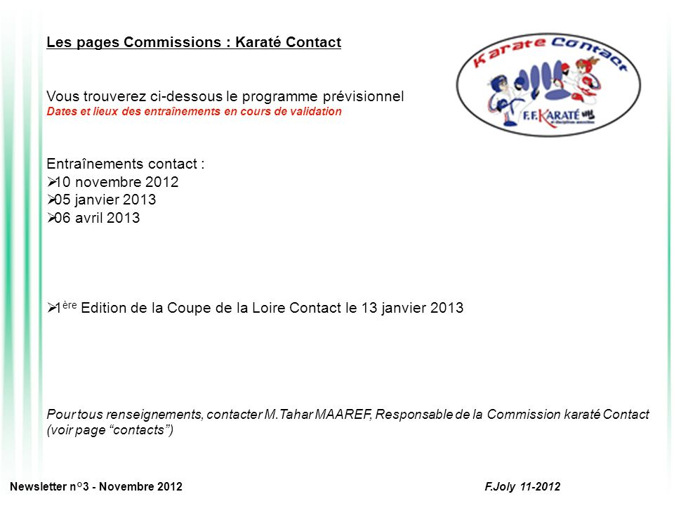 Les pages Commissions : Karaté Contact