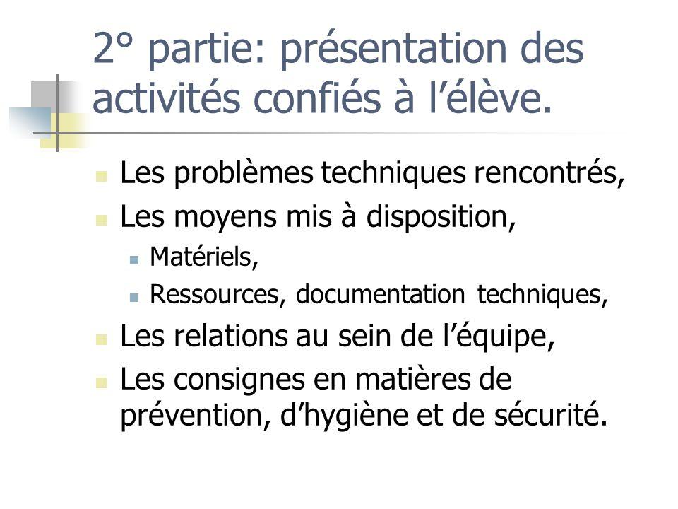 2° partie: présentation des activités confiés à l'élève.