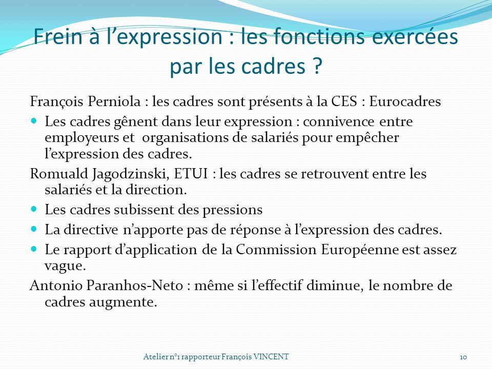 Frein à l'expression : les fonctions exercées par les cadres