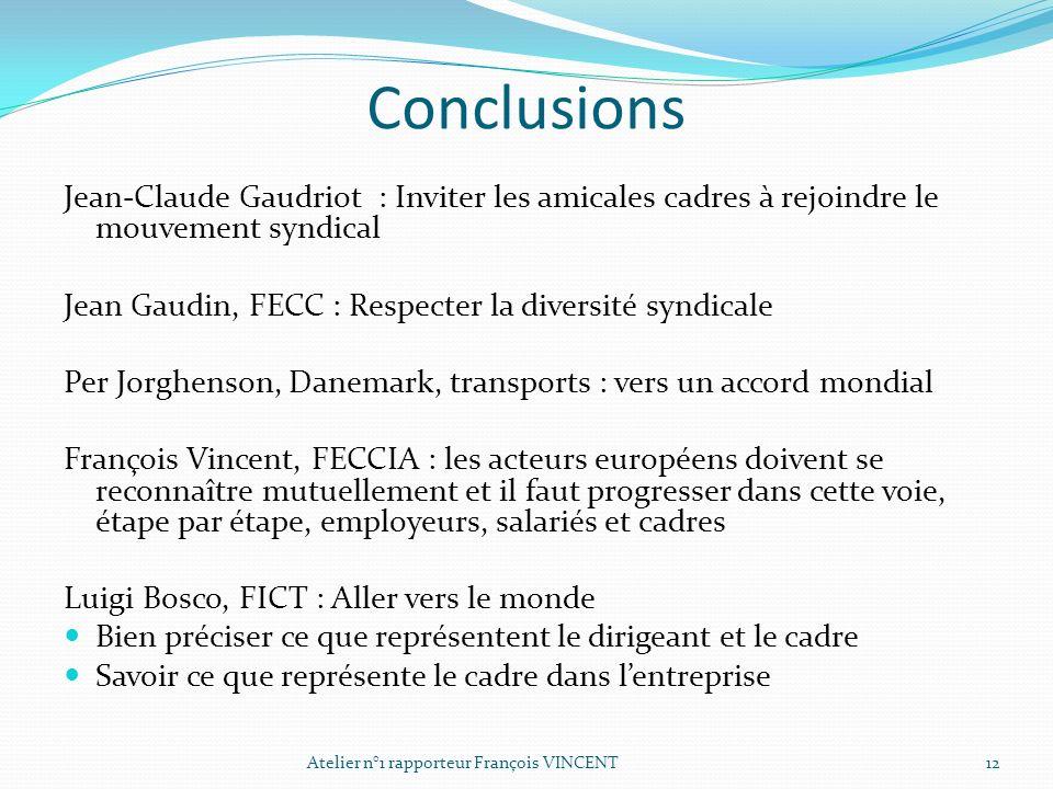 Conclusions Jean-Claude Gaudriot : Inviter les amicales cadres à rejoindre le mouvement syndical.
