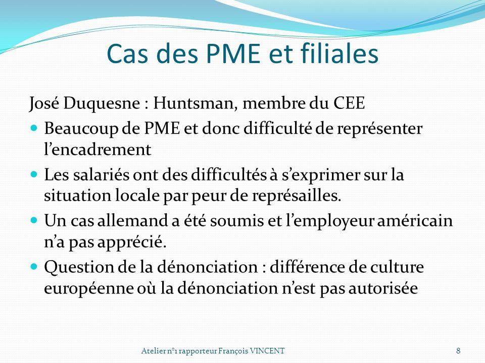 Cas des PME et filiales José Duquesne : Huntsman, membre du CEE