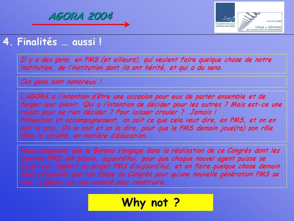 Why not AGORA 2004 4. Finalités … aussi !