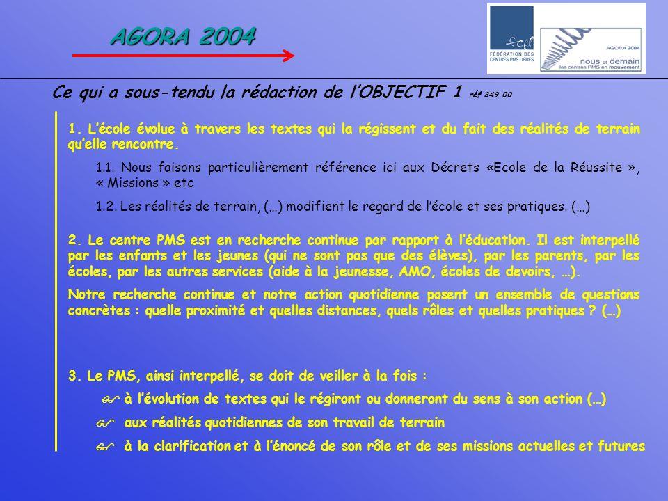 AGORA 2004 Ce qui a sous-tendu la rédaction de l'OBJECTIF 1 réf 349.00
