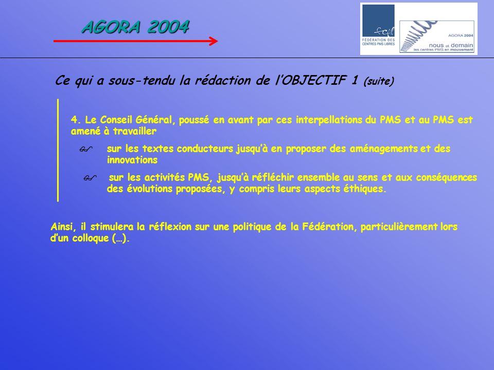 AGORA 2004 Ce qui a sous-tendu la rédaction de l'OBJECTIF 1 (suite)