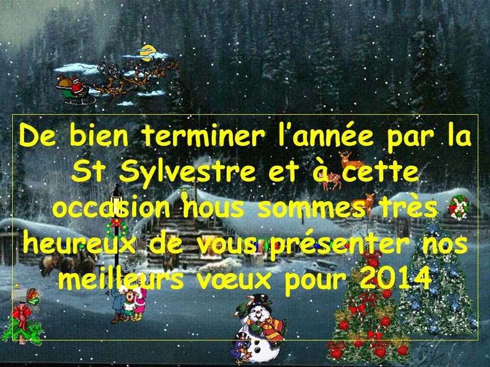 De bien terminer l'année par la St Sylvestre et à cette occasion nous sommes très heureux de vous présenter nos meilleurs vœux pour 2014
