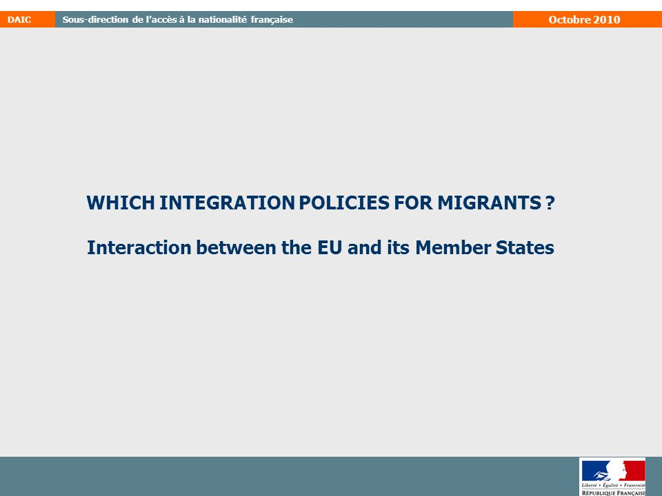 WHICH INTEGRATION POLICIES FOR MIGRANTS