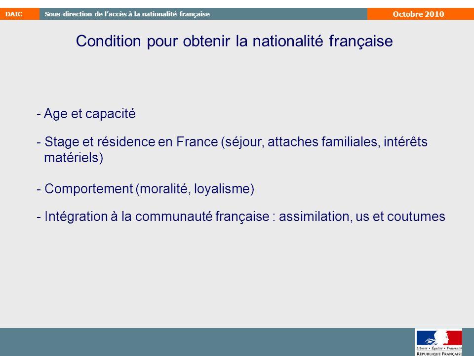 Condition pour obtenir la nationalité française