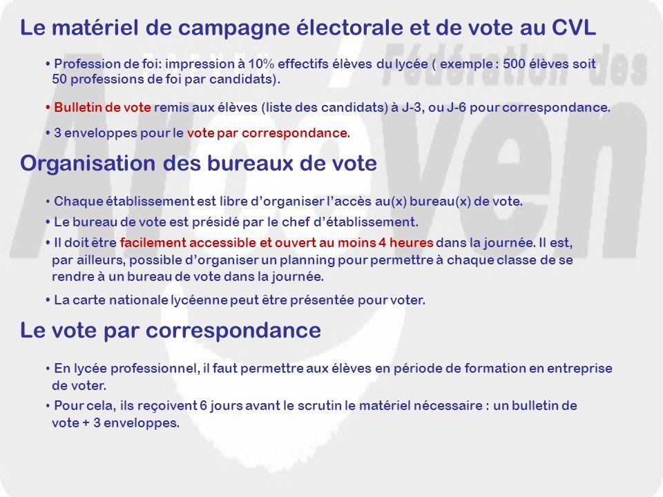 Le matériel de campagne électorale et de vote au CVL