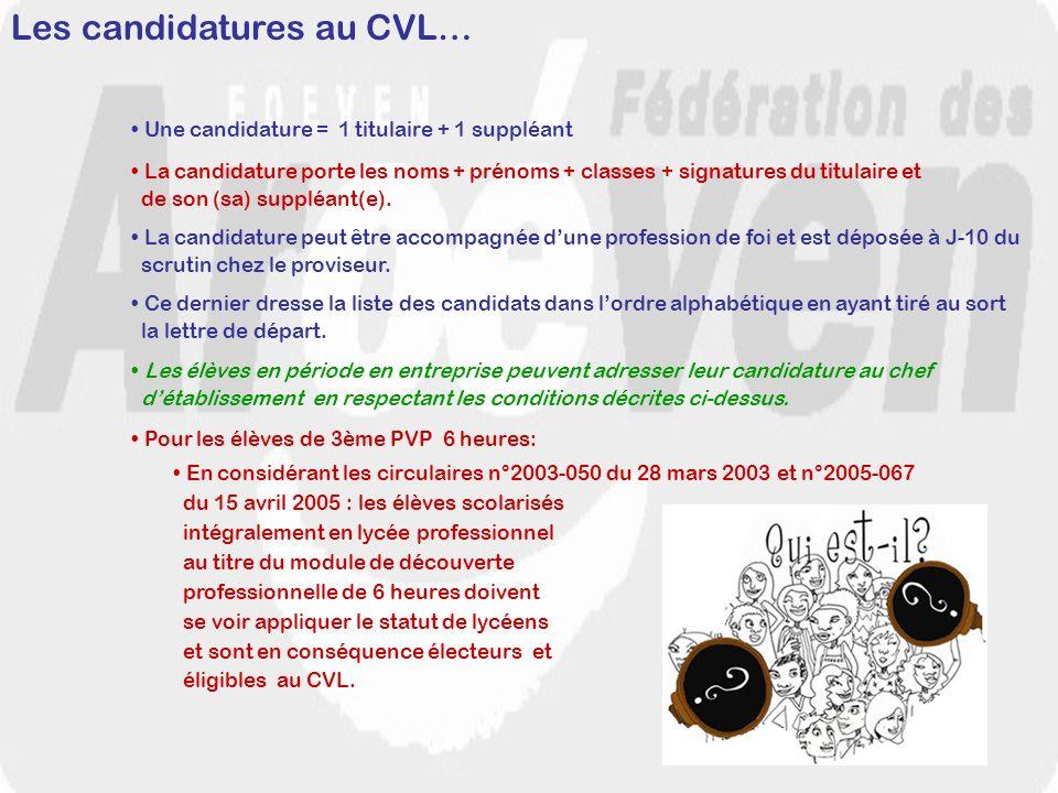 Les candidatures au CVL…