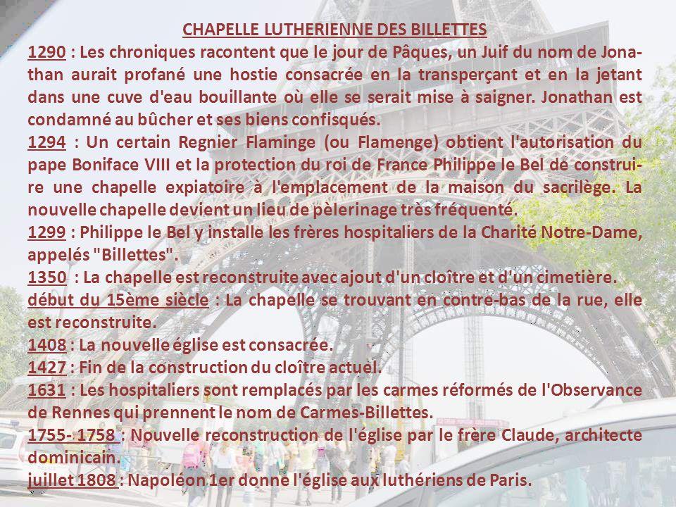 CHAPELLE LUTHERIENNE DES BILLETTES