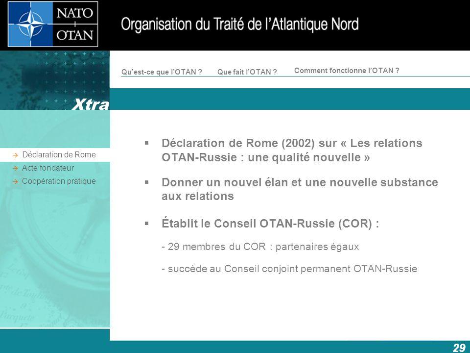 Xtra Déclaration de Rome (2002) sur « Les relations OTAN-Russie : une qualité nouvelle »