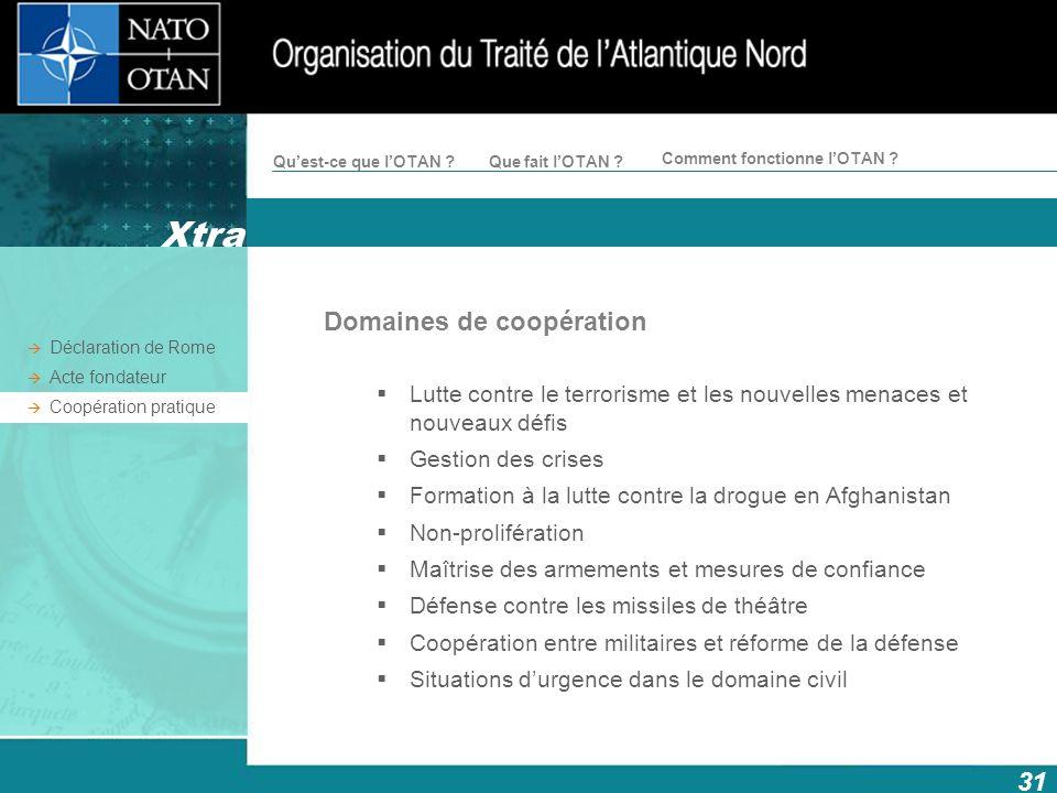 Xtra Domaines de coopération