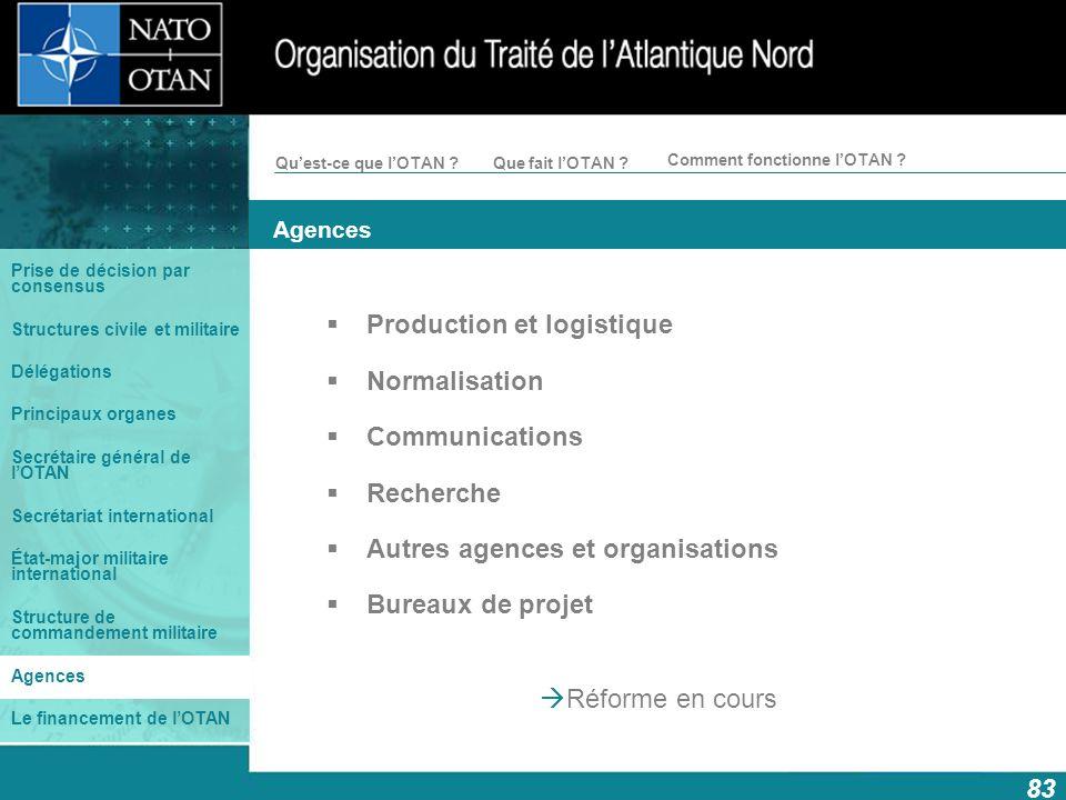 Production et logistique Normalisation Communications Recherche