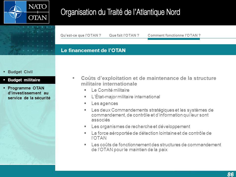 Coûts d'exploitation et de maintenance de la structure militaire internationale