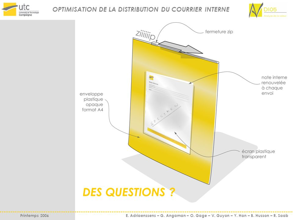 DES QUESTIONS OPTIMISATION DE LA DISTRIBUTION DU COURRIER INTERNE
