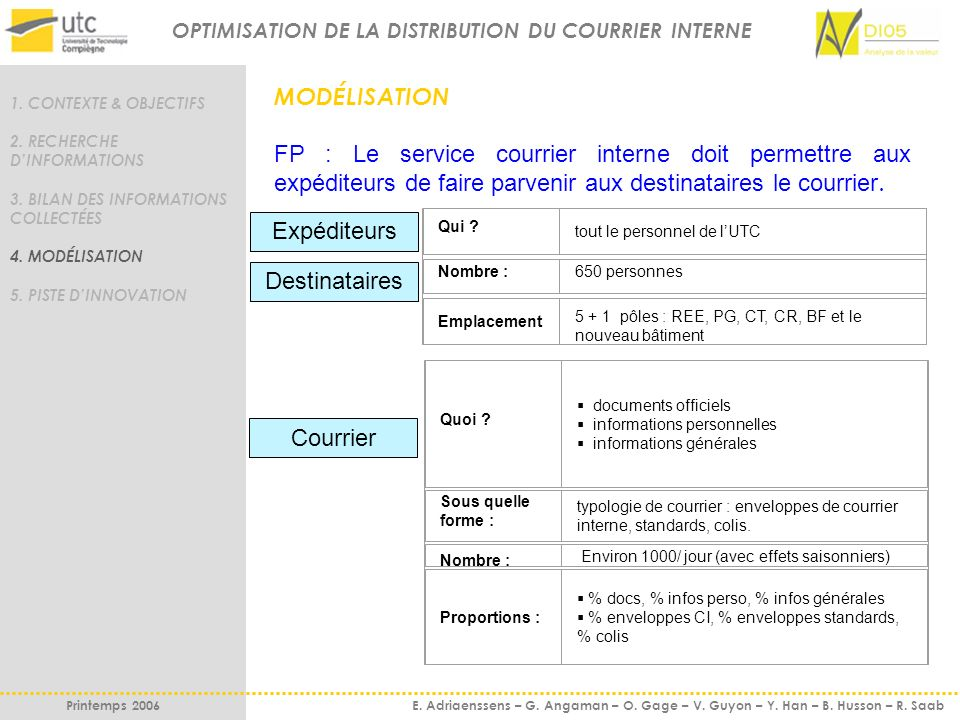 OPTIMISATION DE LA DISTRIBUTION DU COURRIER INTERNE