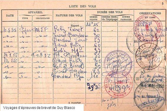 Voyages d'épreuves de brevet de Guy Blasco