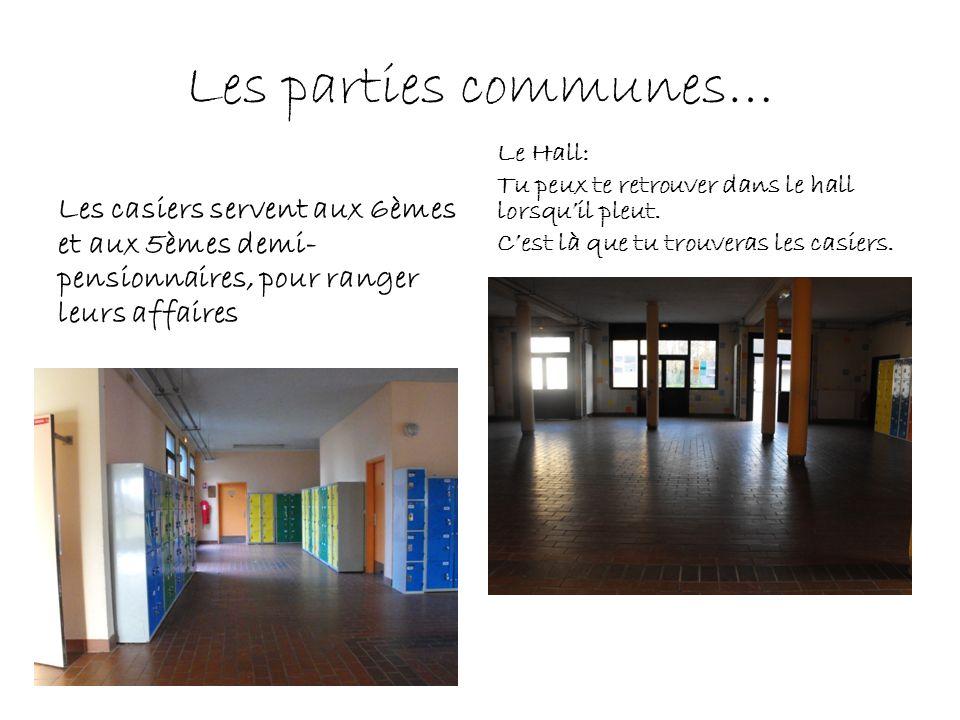 Les parties communes… Le Hall: Tu peux te retrouver dans le hall lorsqu'il pleut. C'est là que tu trouveras les casiers.