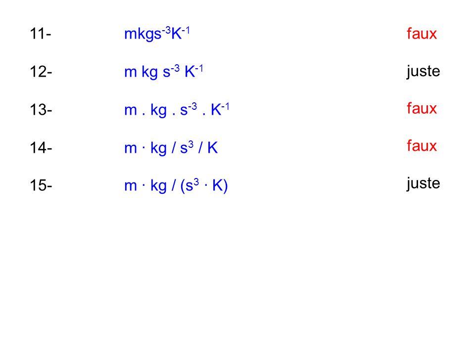 11- mkgs-3K-1 12- m kg s-3 K-1. 13- m . kg . s-3 . K-1. 14- m · kg / s3 / K. 15- m · kg / (s3 · K)