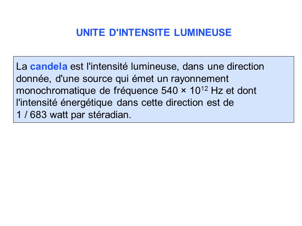 UNITE D INTENSITE LUMINEUSE
