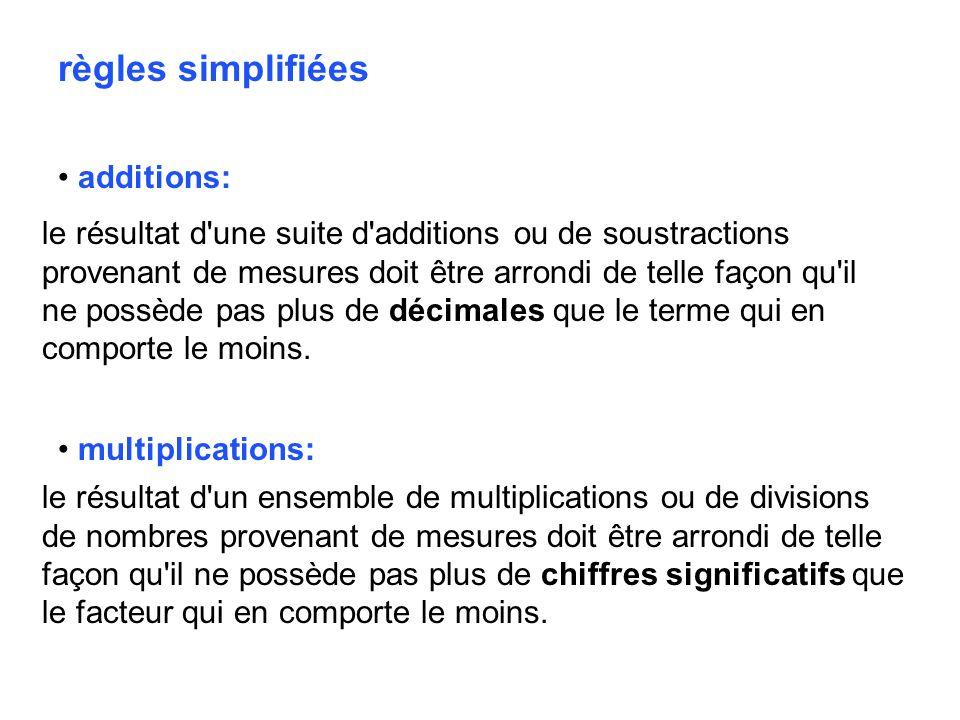 règles simplifiées additions: