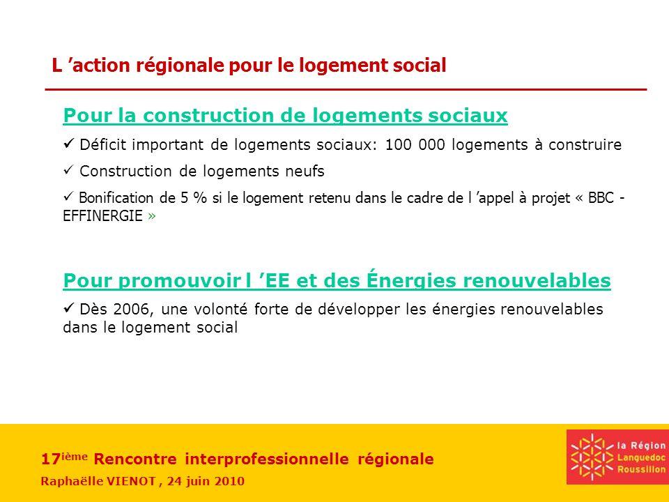 L 'action régionale pour le logement social