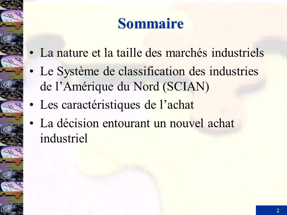 Sommaire La nature et la taille des marchés industriels