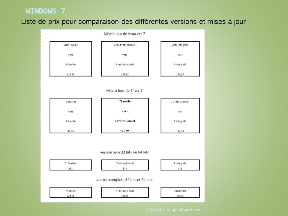 WINDOWS 7 Liste de prix pour comparaison des différentes versions et mises à jour. Club Info Longueuil avril 2010.