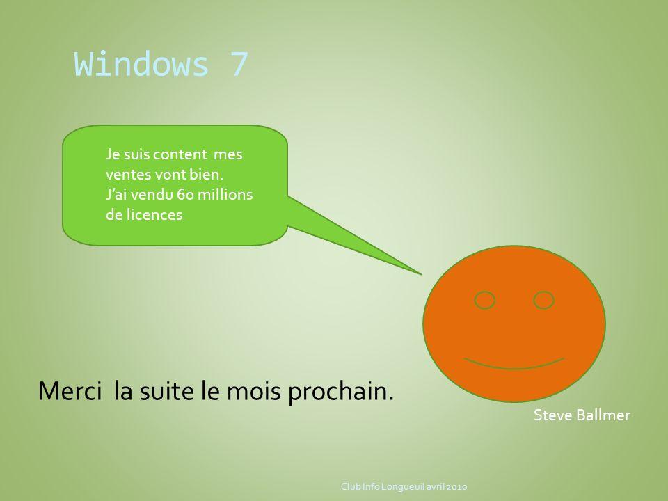 Windows 7 Merci la suite le mois prochain.