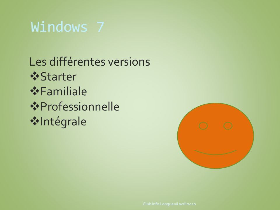Windows 7 Les différentes versions Starter Familiale Professionnelle
